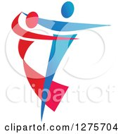 Clipart Of A Blue And Red Couple Ballroom Dancing 2 Royalty Free Vector Illustration by Vector Tradition SM