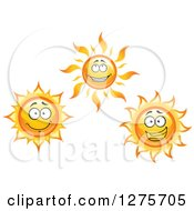 Clipart Of Happy Suns Royalty Free Vector Illustration
