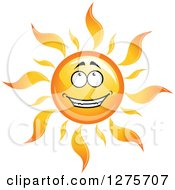 Clipart Of A Happy Sun Smiling And Looking Up Royalty Free Vector Illustration