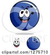 Poster, Art Print Of Blue Bowling Balls And A Face