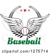 Clipart Of A Winged Baseball In A Wreath With Red Stars Over Text Royalty Free Vector Illustration