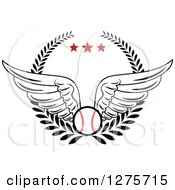 Clipart Of A Winged Baseball In A Wreath With Red Stars Royalty Free Vector Illustration by Vector Tradition SM