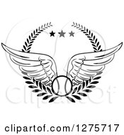 Clipart Of A Black And White Winged Baseball In A Wreath With Stars Royalty Free Vector Illustration by Vector Tradition SM