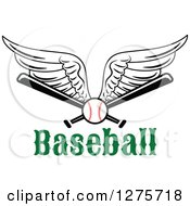 Clipart Of A Winged Baseball And Bats Over Text Royalty Free Vector Illustration