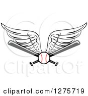 Clipart Of A Winged Baseball And Bats Royalty Free Vector Illustration by Vector Tradition SM