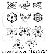 Clipart Of Black And White Atoms 5 Royalty Free Vector Illustration