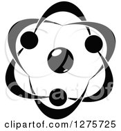 Clipart Of A Black And White Atom 29 Royalty Free Vector Illustration