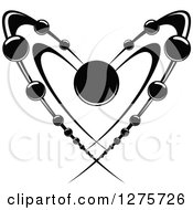 Clipart Of A Black And White Heart Shaped Atom Royalty Free Vector Illustration