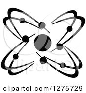 Clipart Of A Black And White Atom 32 Royalty Free Vector Illustration
