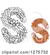 Clipart Of Black And White And Colored Floral Capital Letter S Designs Royalty Free Vector Illustration