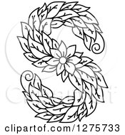 Clipart Of A Black And White Floral Capital Letter S With A Flower Royalty Free Vector Illustration