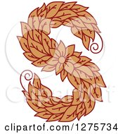 Clipart Of A Floral Capital Letter S With A Flower Royalty Free Vector Illustration
