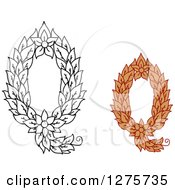 Clipart Of Black And White And Colored Floral Capital Letter Q Designs Royalty Free Vector Illustration