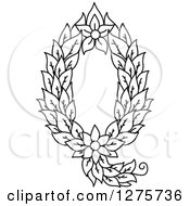 Clipart Of A Black And White Floral Capital Letter Q With A Flower Royalty Free Vector Illustration