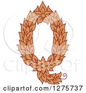 Clipart Of A Floral Capital Letter Q With A Flower Royalty Free Vector Illustration
