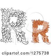 Clipart Of Black And White And Colored Floral Capital Letter R Designs Royalty Free Vector Illustration