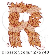 Clipart Of A Floral Capital Letter R With A Flower Royalty Free Vector Illustration