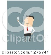 Clipart Of A White Businessman Holding Up A Smart Phone Over Blue Royalty Free Vector Illustration