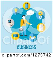 Poster, Art Print Of Businessman In A Circle Of App Icons On Blue