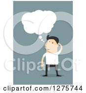 Clipart Of A White Businessman Scratching His Head And Thinking Over Blue Royalty Free Vector Illustration by Vector Tradition SM