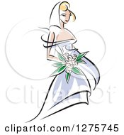 Clipart Of A Blond White Bride In A Periwinkle Dress With Pink Flowers Royalty Free Vector Illustration