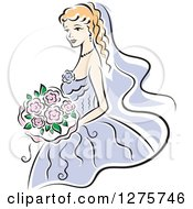 Clipart Of A Blond Bride In A Periwinkle Dress With Pink Flowers Royalty Free Vector Illustration