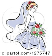 Clipart Of A Blond Bride In A Periwinkle Dress With Red Flowers Royalty Free Vector Illustration by Seamartini Graphics