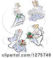 Clipart Of Blond Brides In Periwinkle Dresses Royalty Free Vector Illustration