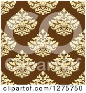 Clipart Of A Seamless Pattern Background Of Yellow Damask On Brown Royalty Free Vector Illustration