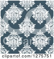 Clipart Of A Seamless Pattern Background Of Blue Damask Royalty Free Vector Illustration