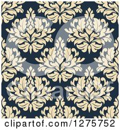 Clipart Of A Seamless Pattern Background Of Beige Damask On Navy Blue Royalty Free Vector Illustration
