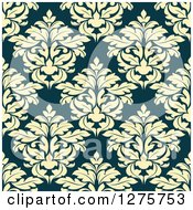 Clipart Of A Seamless Pattern Background Of Yellow Damask On Teal Royalty Free Vector Illustration