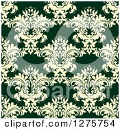 Clipart Of A Seamless Pattern Background Of Yellow Damask On Green Royalty Free Vector Illustration