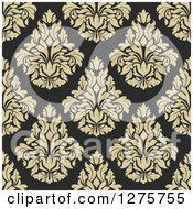 Clipart Of A Seamless Pattern Background Of Beige Damask Royalty Free Vector Illustration