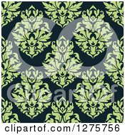 Clipart Of A Seamless Pattern Background Of Green Damask On Teal Royalty Free Vector Illustration