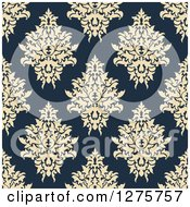Clipart Of A Seamless Pattern Background Of Beige Damask On Navy Blue 2 Royalty Free Vector Illustration