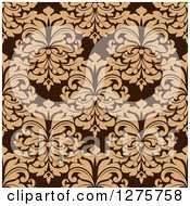 Clipart Of A Seamless Pattern Background Of Tan Damask On Brown Royalty Free Vector Illustration