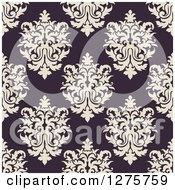 Clipart Of A Seamless Pattern Background Of Purple Damask Royalty Free Vector Illustration