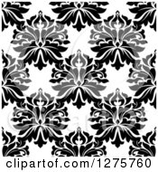 Clipart Of A Seamless Pattern Background Of Black And White Damask 4 Royalty Free Vector Illustration