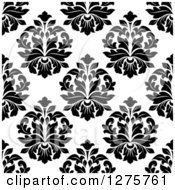 Clipart Of A Seamless Pattern Background Of Black And White Damask 5 Royalty Free Vector Illustration