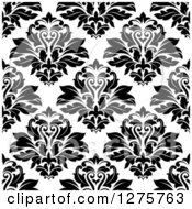 Clipart Of A Seamless Pattern Background Of Black And White Damask Royalty Free Vector Illustration