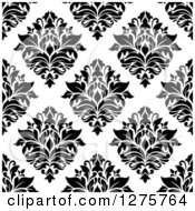 Clipart Of A Seamless Pattern Background Of Black And White Damask 2 Royalty Free Vector Illustration