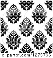 Clipart Of A Seamless Pattern Background Of Black And White Damask 3 Royalty Free Vector Illustration