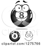 Clipart Of A Grayscale Happy Billiards Eightball Character And Face Royalty Free Vector Illustration
