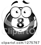 Clipart Of A Grayscale Happy Billiards Eightball Character Royalty Free Vector Illustration