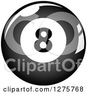 Clipart Of A Grayscale Shiny Billiards Eightball Royalty Free Vector Illustration