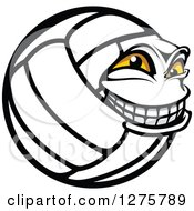 Clipart Of A Grinning Volleyball Character Mascot In Profile Royalty Free Vector Illustration