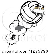 Clipart Of A Grinning Volleyball Character Mascot Shooting Off In Profile Royalty Free Vector Illustration