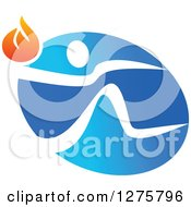 Clipart Of A White Person Running With A Torch Over A Blue Oval Royalty Free Vector Illustration