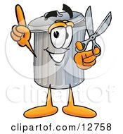Clipart Picture Of A Garbage Can Mascot Cartoon Character Holding A Pair Of Scissors